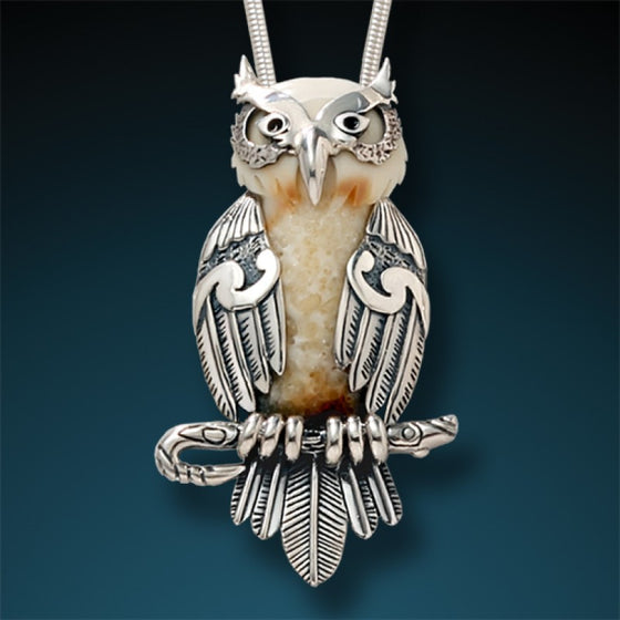 """Wise One"" Ancient Fossilized Walrus Tusk Ivory Silver Owl Pendant"