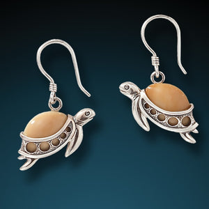"""Turtle Hatchlings"" Fossilized Walrus Tusk and Sterling Silver Earrings"