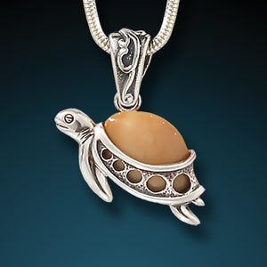 """Turtle Hatchlings"" Fossilized Walrus Tusk and Sterling Silver Pendant"
