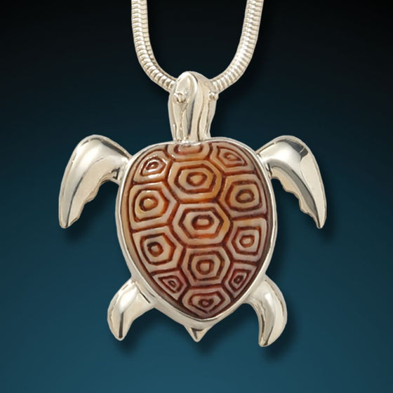 """SEA TURTLE""  FOSSILIZED WALRUS IVORY TURTLE PENDANT"