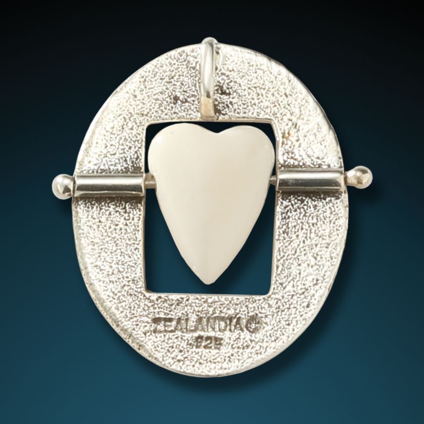 """OPEN YOUR HEART""  SILVER AND ANCIENT MAMMOTH IVORY HEART PENDANT"