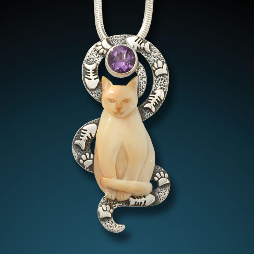 """CONTENTED CAT"" SILVER, FOSSILIZED MAMMOTH IVORY AND AMETHYST CAT PENDANT"