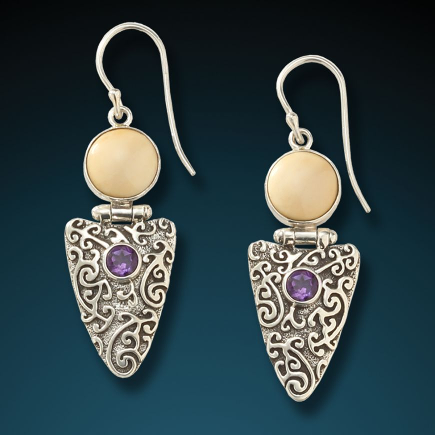 """AMETHYST ARROWHEAD EARRINGS"" FOSSILIZED MAMMOTH IVORY AND AMETHYST"