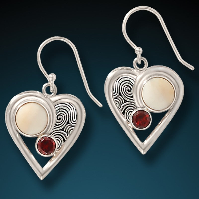 """Heartbeat"" Fossilized Mammoth Ivory Garnet and Sterling Silver Earrings"