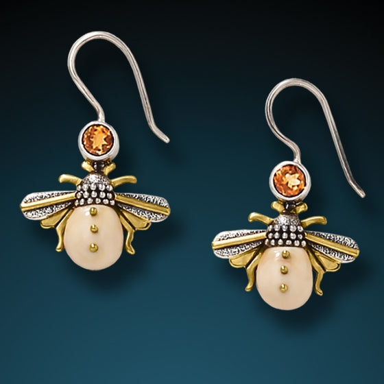 """Honeybee"" Fossilized Walrus Tusk Citrine and Sterling Silver Earrings"