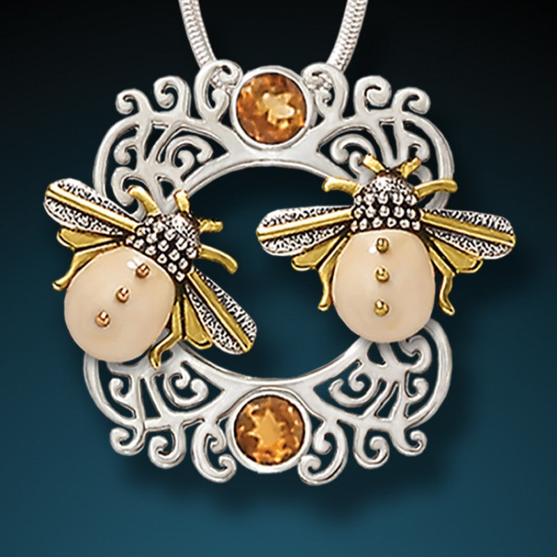 """Sunkissed Bees"" Fossilized Walrus Tusk Citrine and Sterling Silver Pendant"