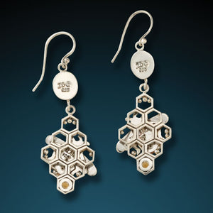 """HONEYCOMB BEES""  FOSSILIZED WALRUS IVORY HONEYCOMB BEE EARRINGS"