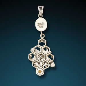 """HONEYCOMB BEES""   FOSSILIZED WALRUS IVORY HONEYCOMB BEE PENDANT"