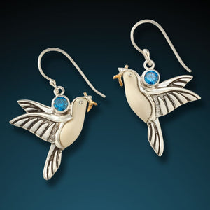 """DOVE EARRINGS""  ANCIENT MAMMOTH IVORY DOVE EARRINGS"