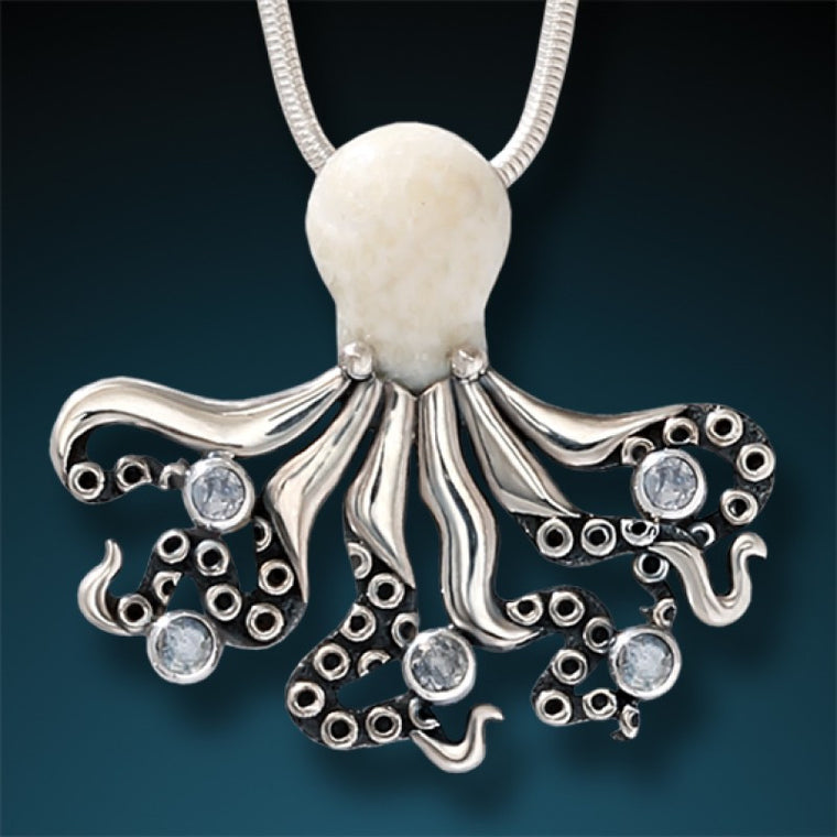 """Deep Secrets"" Ancient Fossilized Walrus Tusk Ivory and Rainbow Moonstone Silver Octopus Pendant"