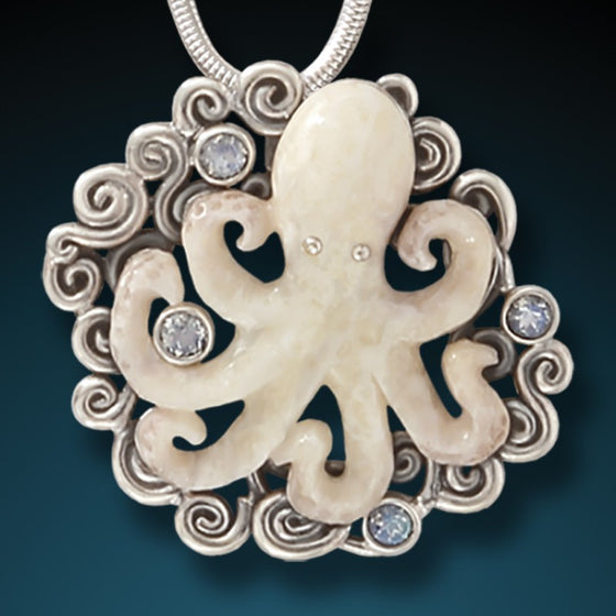 """Beneath the Waves"" Fossilized Walrus Ivory and Moonstone Sterling Silver Octopus Pendant"