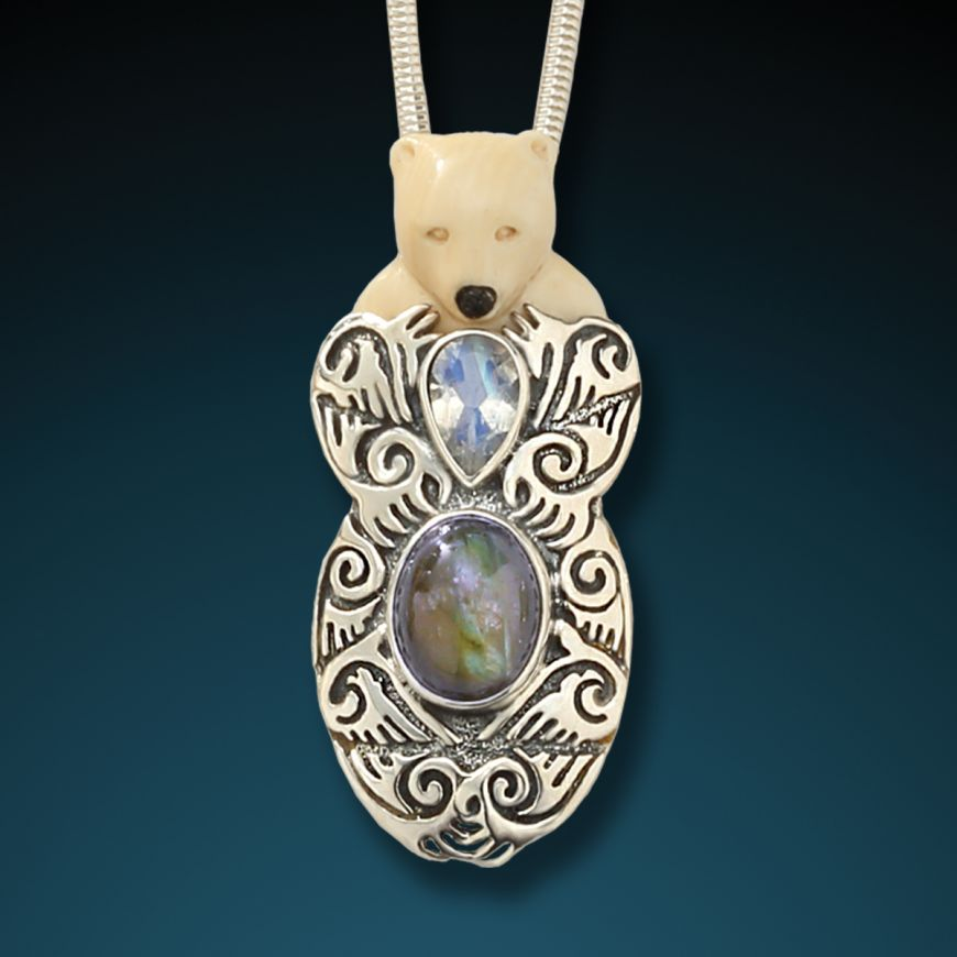 """BEAR HUG""  FOSSILIZED MAMMOTH IVORY, LABRADORITE, MOONSTONE BEAR PENDANT"