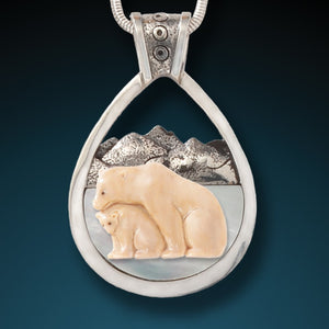"""Bear with Cub"" Fossilized Walrus Tusk and Mother of Pearl Sterling Silver Pendant"