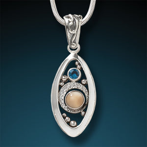 BLUE TOPAZ AND FOSSILIZED WALRUS IVORY NECKLACE – MICROCOSM