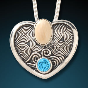 FOSSILIZED MAMMOTH IVORY HEART PENDANT - OCEAN HEART