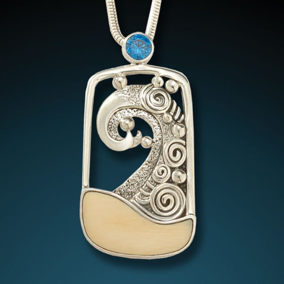"""CRESTING WAVE""   FOSSILIZED MAMMOTH WAVE PENDANT"