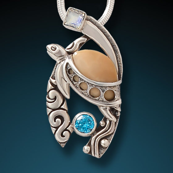 """Wave Rider"" Fossilized Walrus Tusk, Blue Topaz, Moonstone and Sterling Silver Pendant"