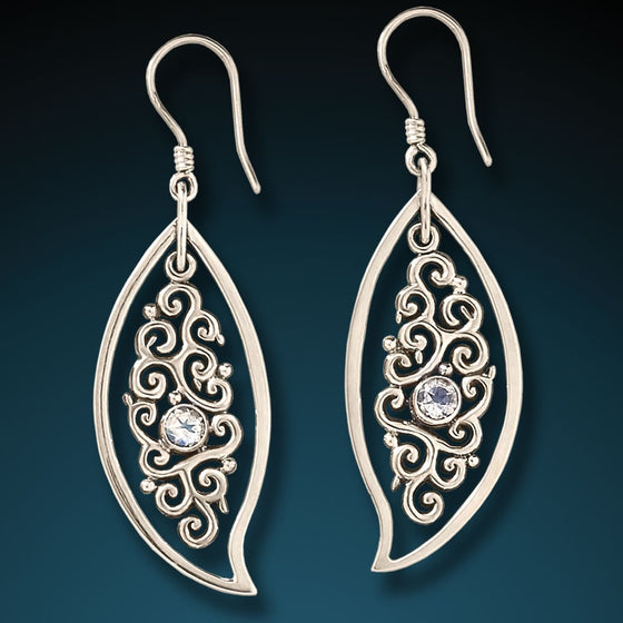 SILVER, RAINBOW MOONSTONE LEAF EARRINGS - DANCING LEAVES