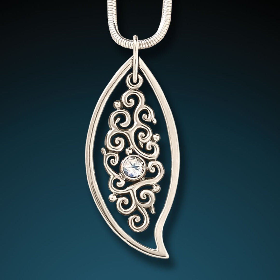 SILVER, RAINBOW MOONSTONE LEAF PENDANT - DANCING LEAF
