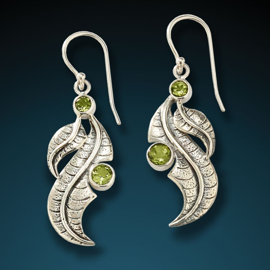 """ PERIDOT LEAVES"" SILVER AND PERIDOT LEAF EARRINGS"