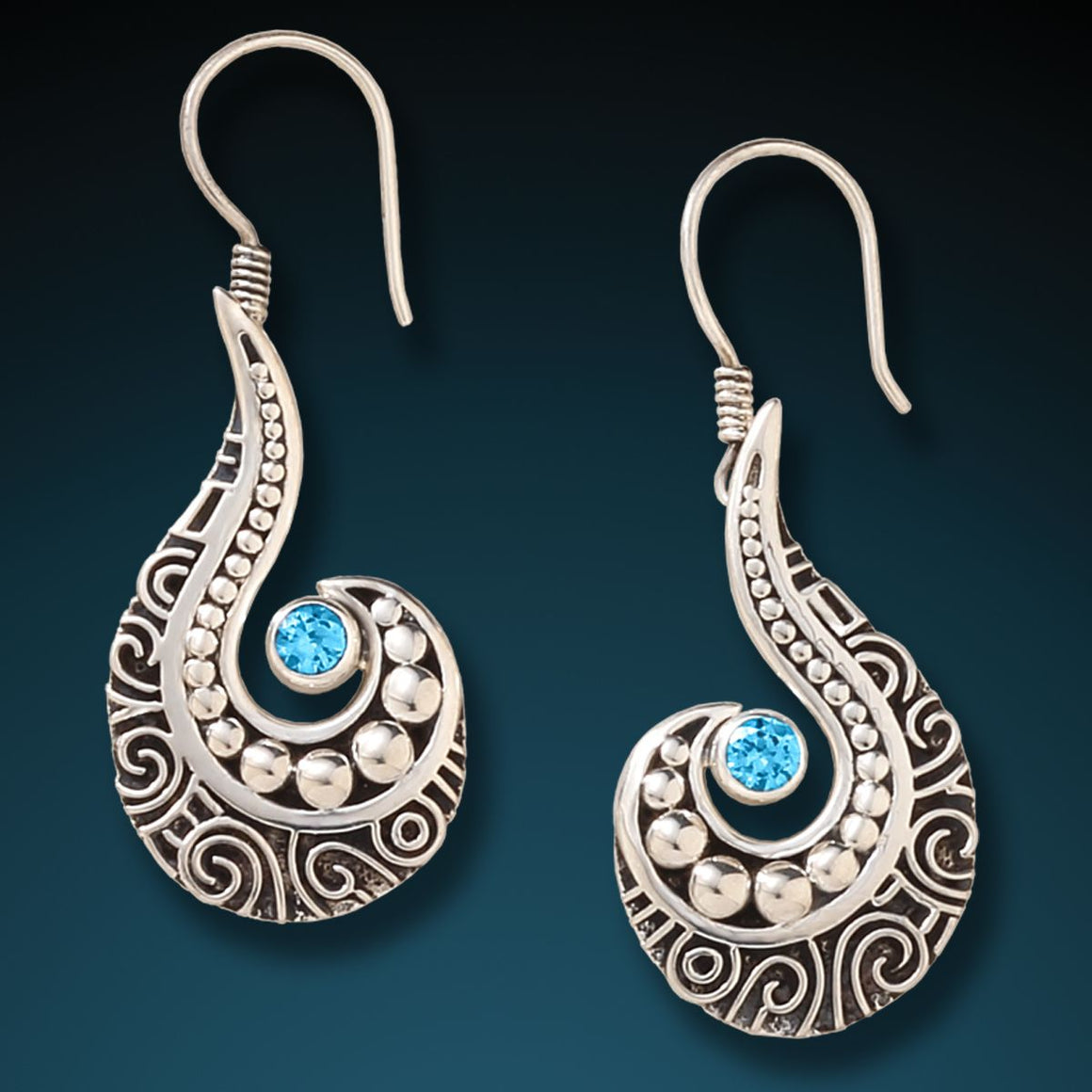 SILVER, BLUE TOPAZ WAVE EARRINGS - OCEAN WAVES