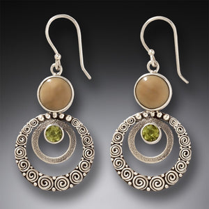 FOSSILIZED WALRUS IVORY HANDMADE SILVER DANGLING EARRINGS WITH PERIDOT - RIPPLES