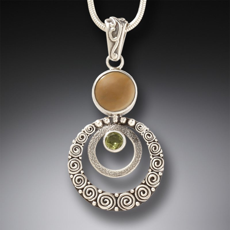 """Ripples"" Ancient Fossilized Mammoth Tusk, Peridot and Sterling Silver Pendant"