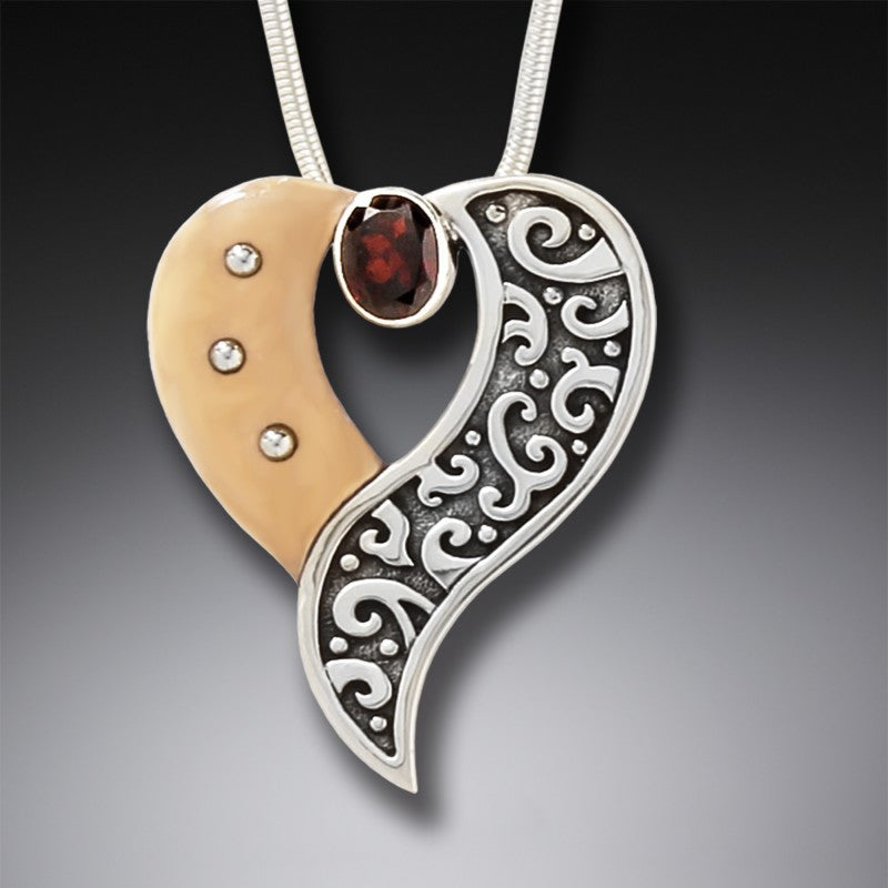 FOSSILIZED WALRUS IVORY HEART NECKLACE, HANDMADE SILVER WITH GARNET - HEART'S DESIRE
