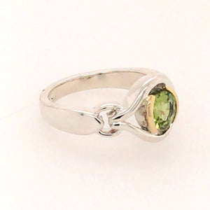 Sterling Silver and 18kt Gold Peridot Ring