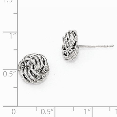 Leslies 14kt White Gold Love Knot Polished Earrings