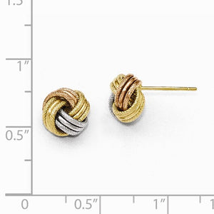 Leslies 14kt Tri-Color Gold Love Knot Earrings