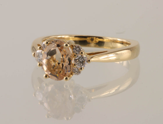 Morganite and Diamond 14kt Gold Ring