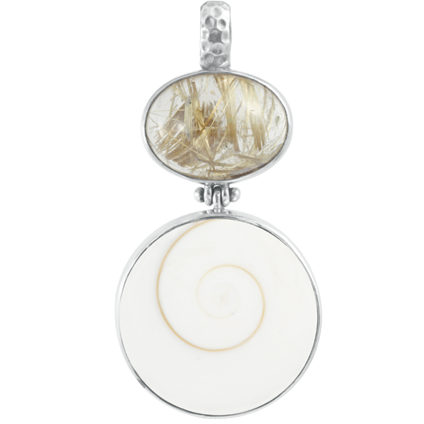 Rutilated Quartz, Eye of Shiva Sterling Silver Pendant