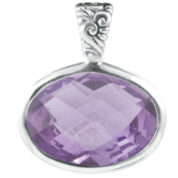 Amethyst Checkerboard Cut Sterling Silver Pendant