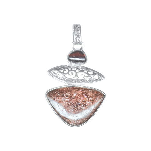 Rhodolite Garnet and Lepidolite Sterling Silver Pendants