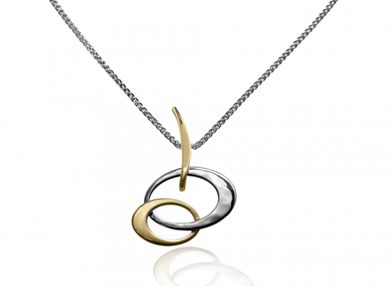 Ed Levin Sterling Silver and 14kt Gold Petite Entwined Elegance Pendant