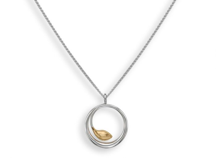 Ed Levin Sterling Silver and 14kt Gold Be-Leaf Pendant