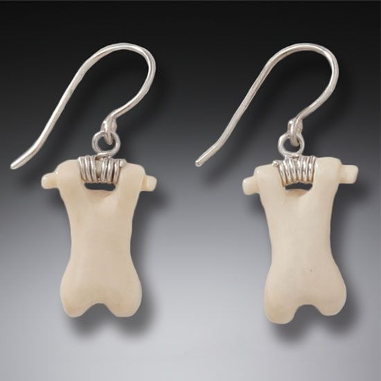 """Hanging Bears"" Ancient Fossilized Mammoth Tusk Ivory Silver Earrings"