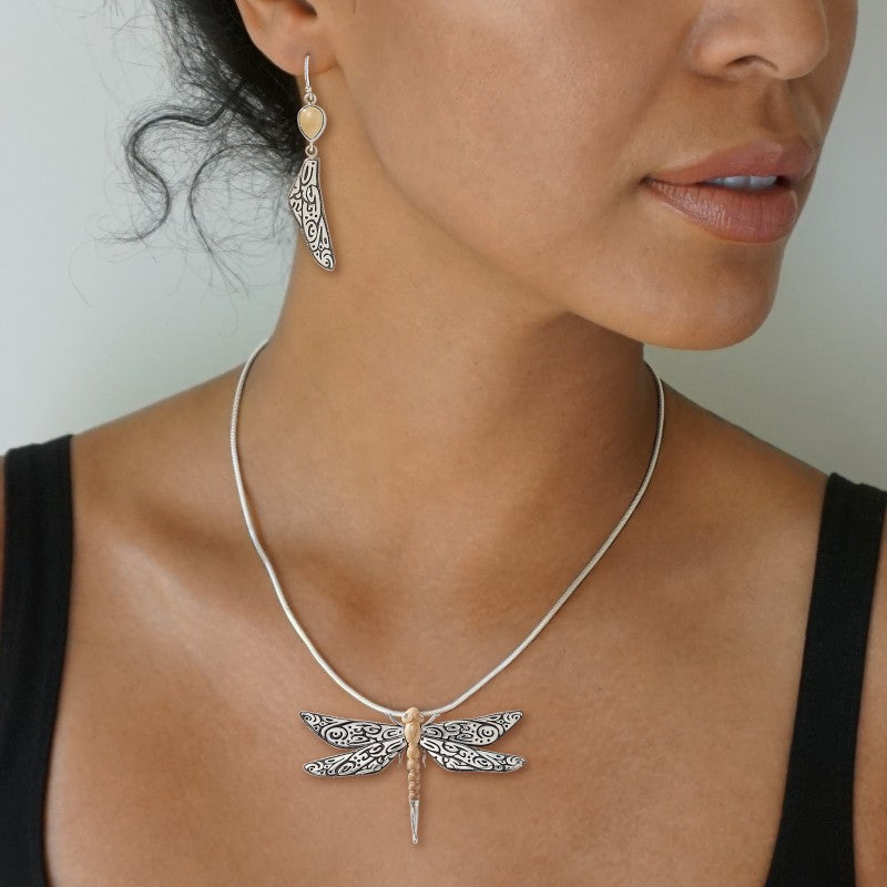 """Tribal Dragonfly"" Ancient Fossilized Mammoth Tusk Sterling Silver Pendant"