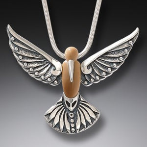 """Winged Song"" Ancient Fossilized Walrus Tusk Ivory Silver Hummingbird Pendant"
