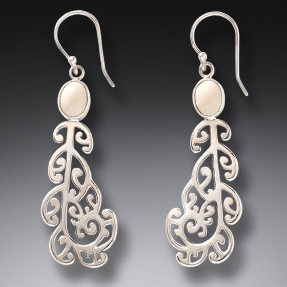 """Moondance"" Ancient Mammoth Ivory Tusk Silver Earrings"