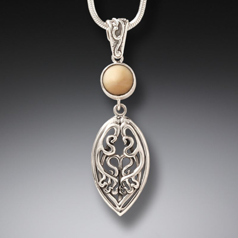 """Nouveau Drop"" Ancient Mammoth Tusk Sterling Silver Pendant"