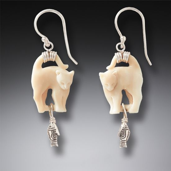 ANCIENT IVORY AND SILVER CAT EARRINGS - CAT'S MEOW