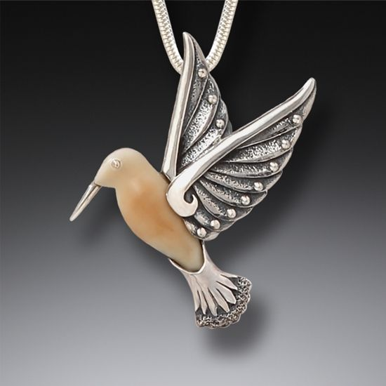 FOSSILIZED WALRUS IVORY AND SILVER PENDANT - HUMMINGBIRD II