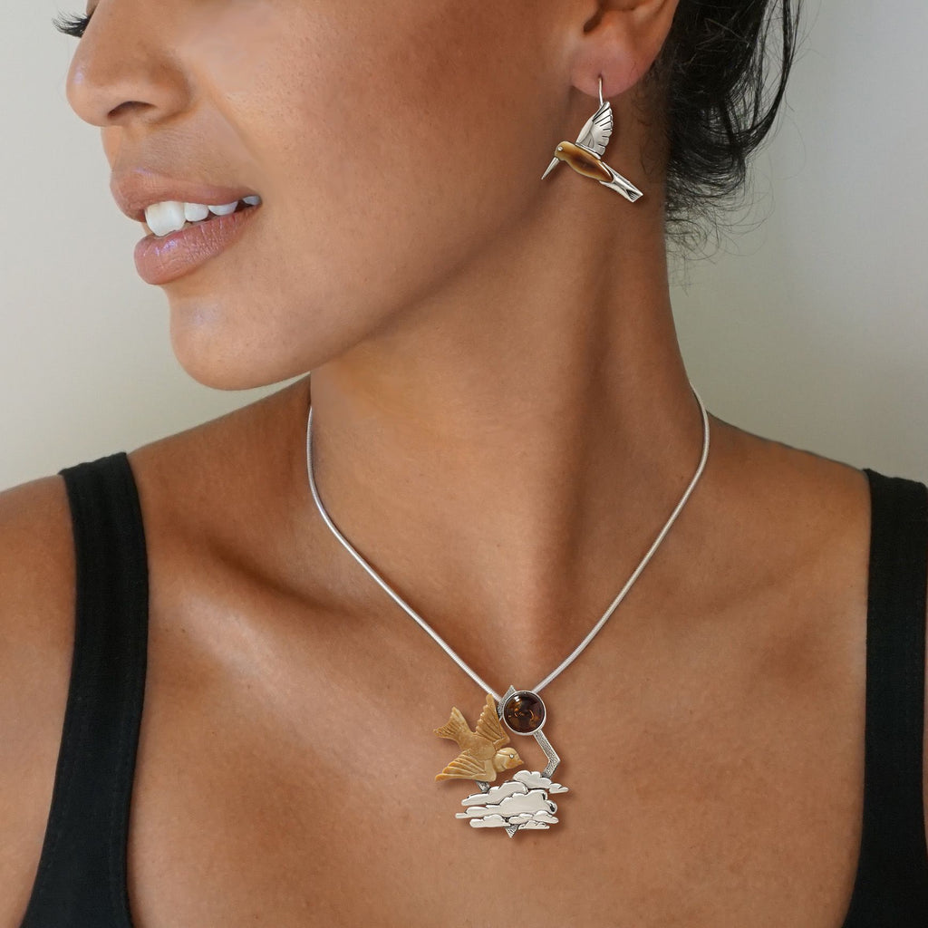 FOSSILIZED WALRUS IVORY BIRD NECKLACE SILVER AND AMBER - DAWN FLIGHT