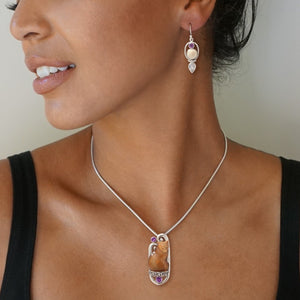 """Companion"" Fossilized Mammoth Ivory Amethyst and Sterling Silver Pendant"