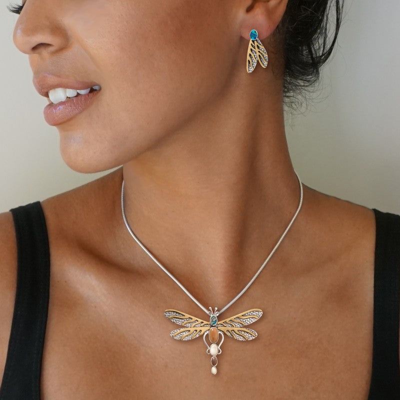 """Dragonfly Dreams"" Ancient Fossilized Tusk Ivory and Paua and 14kt Gold Fill Silver Dragonfly Pin or Pendant"