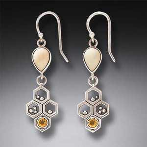 """Honeycomb"" Ancient Fossilized Walrus Tusk Citrine Silver Earrings"