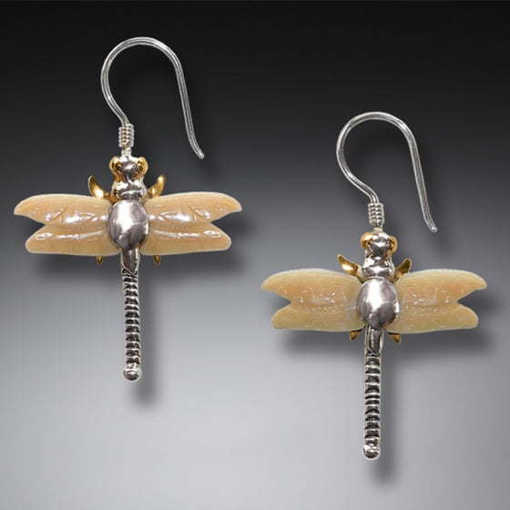 """Dragonflies"" Fossilized Walrus Tusk Ivory and Sterling Silver Earrings"