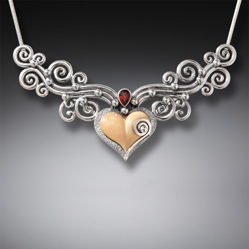 """Heart Song III"" Ancient Fossilized Mammoth Tusk and Garnet Sterling Silver Necklace"
